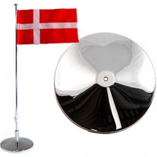 Flaggstång nysilver, Dansk flagga, 42cm