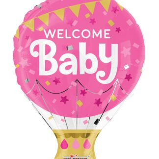 Folieballong Welcome Baby, Rosa