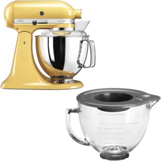 KitchenAid Artisan 175 Gul + Glasskål 5KGB