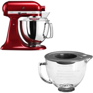 KitchenAid Artisan 175 Röd Metallic + Glasskål 5KGB
