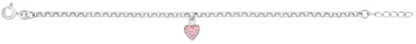 Silverarmband med rosa hjärta, 17cm